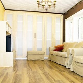 На фото: часть помещения жилой комнаты - гостиной, на правой стене - два окна, у стены под окнами два мягких дивана, перед ними у противоположной стены - тумба с телевизором, вдоль всей дальней стены - встроенный шкаф, полы - ламинат, на потолке - люстра