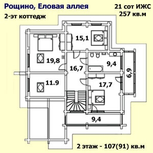 На рисунке приведен план мансардного этажа дома. На плане: указаны площади помещений, этаж, общая и жилая площадь этажа, общая и жилая площадь, этажность, год постройки, материал стен, степень готовности и адрес дома, площадь земельного участка