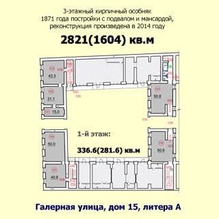 На рисунке: план первого этажа с указанием этажности и типа здания, года постройки и реконструкции, общей и полезной площади всего здания и этажа, площадей помещений, адреса здания